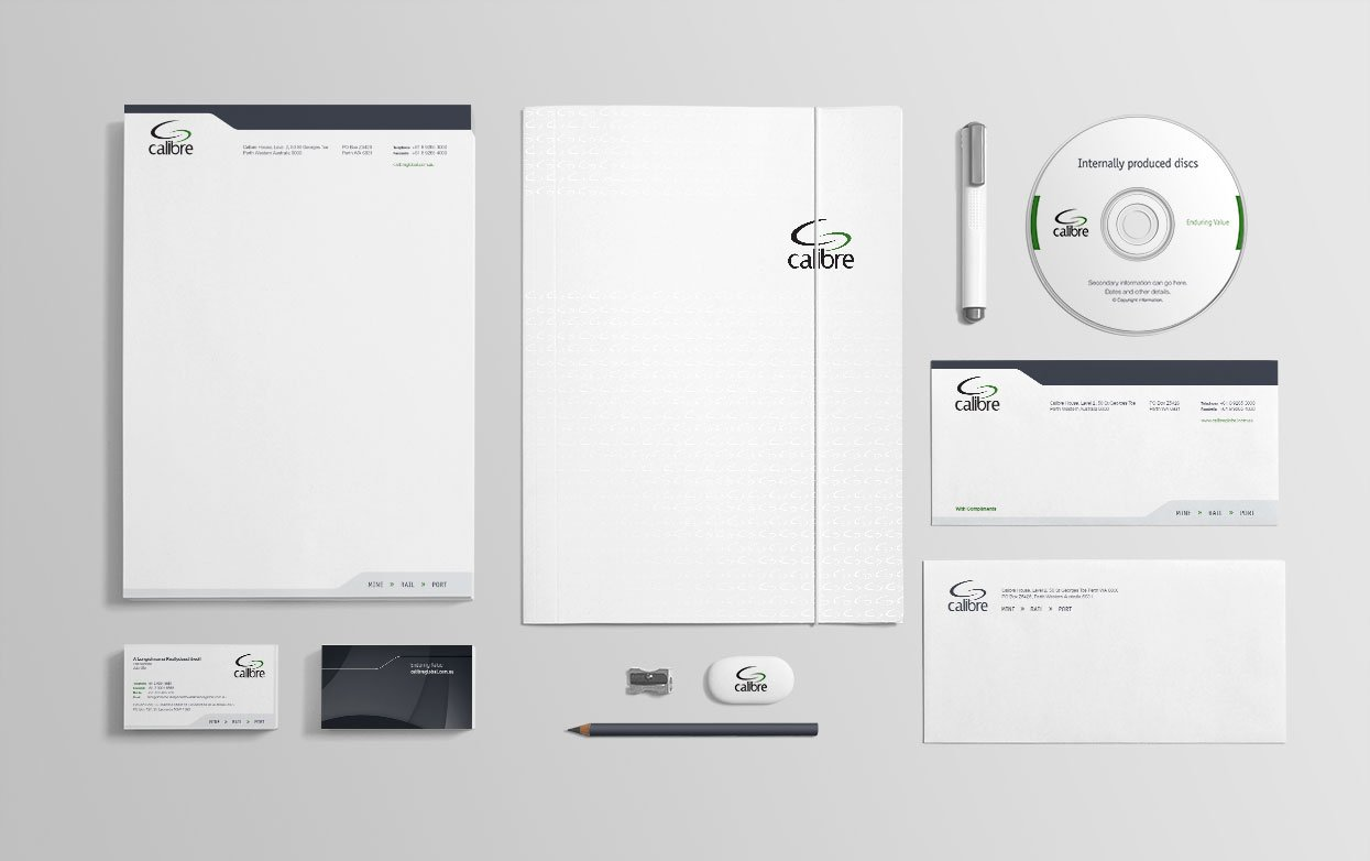 The Calibre Global corporate stationery suite.