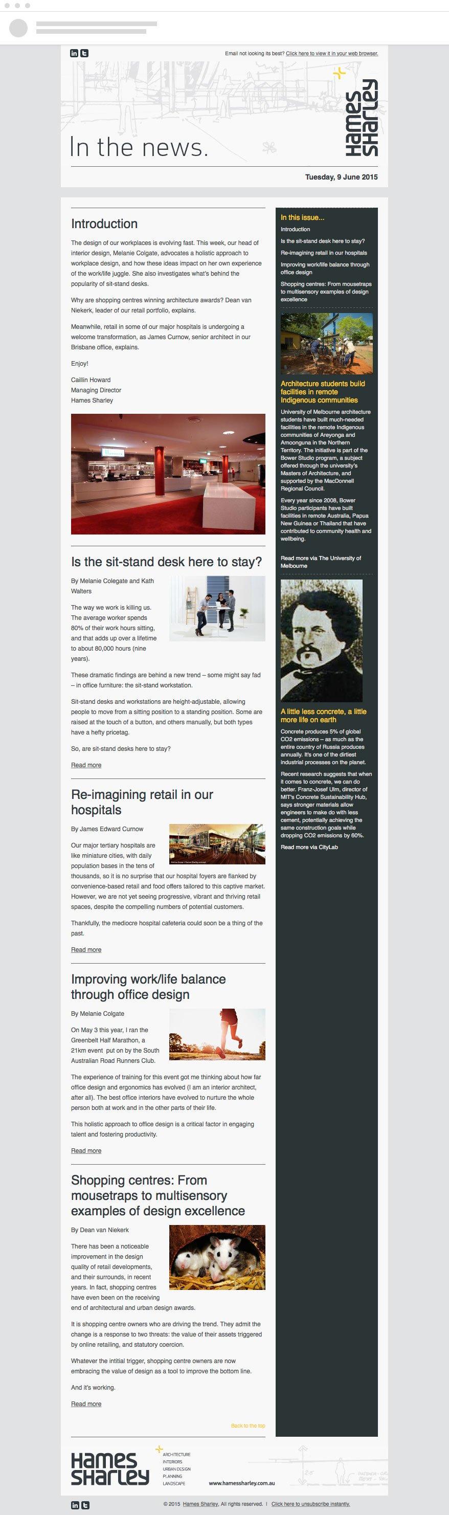Hames Sharley Email Newsletter Design