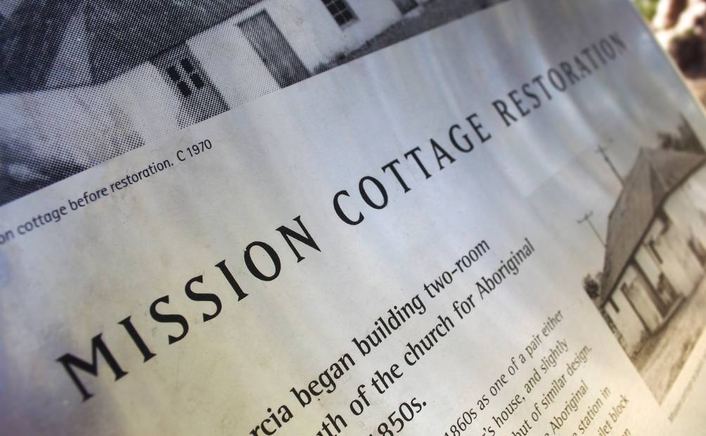 New Norcia - Mission Cottages Restoration Interpretive Sign