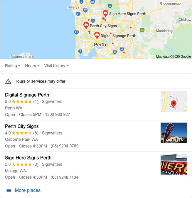 Google's local search results