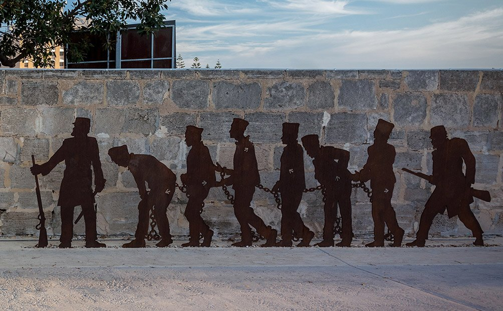Fremantle prison convict ramp sculpture