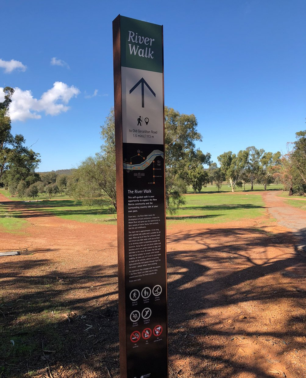 Wayfinding and interpretive signage for the river walk at New Norcia in Western Australia. Designed by Axiom Design Partners