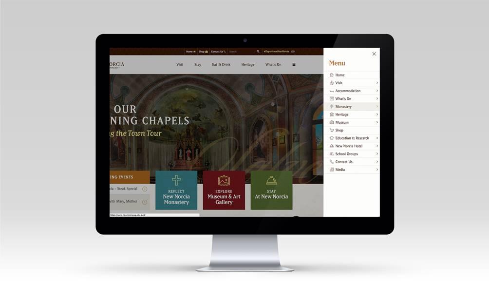New Norcia Website - Slide-out menu