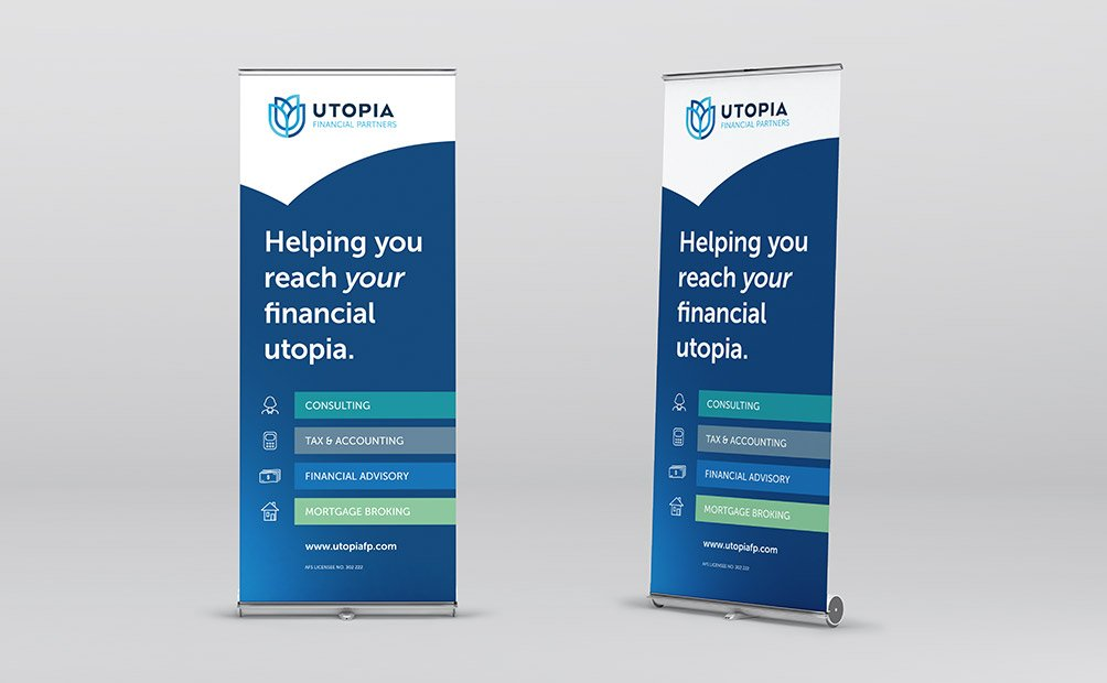 Pull-up banner design for Utopia Financial Partners, by Axiom Design Partners